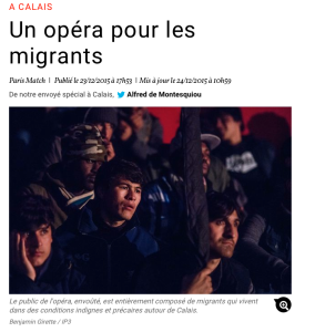 Article de Paris-Match, concert dans le camp de migrants de Calais décembre 2015